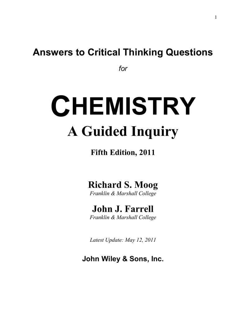 chemactivity 23 critical thinking questions