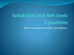 Solubility and Net Ionic Equations