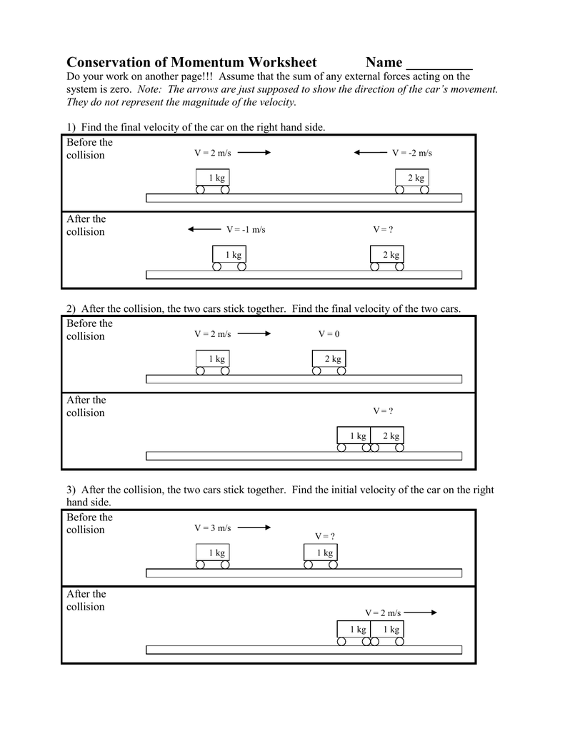 Conservation of Momentum Worksheet
