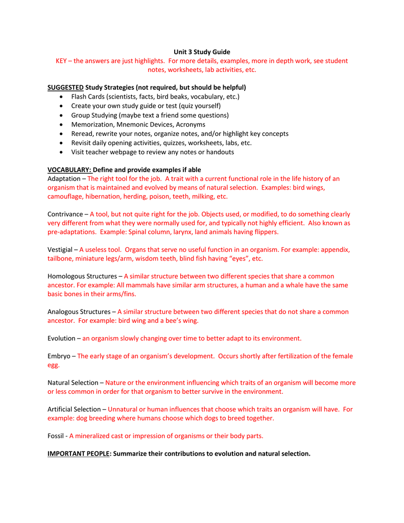 Unit 3 Study Guide KEY - the answers are just highlights ...