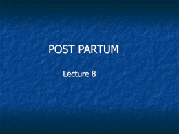 The Post Partum Period