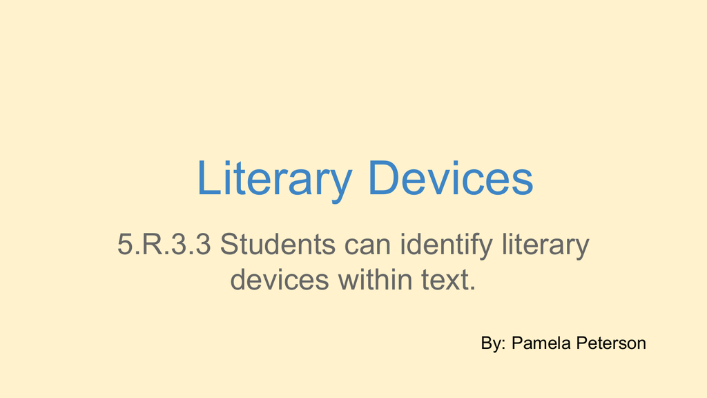 Literary Devices Techinedpeterson