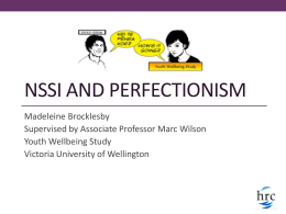 NSSI and perfectionism - Victoria University of Wellington