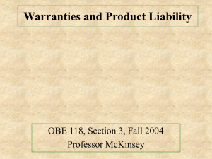 Warranties and Products Liability, October 21