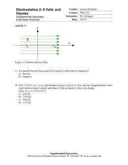 Session 2- E Field and Dipoles