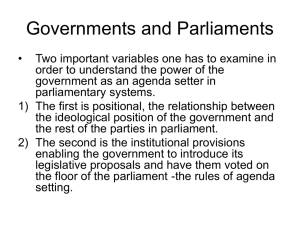 Governments and Parliaments