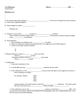 Worksheet Mutations Worksheet biology unit 4 computer web quest 12 mutations name guided notes are