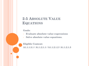 2-5 Absolute Value Equations