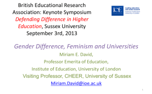 Gender difference, feminism and universities