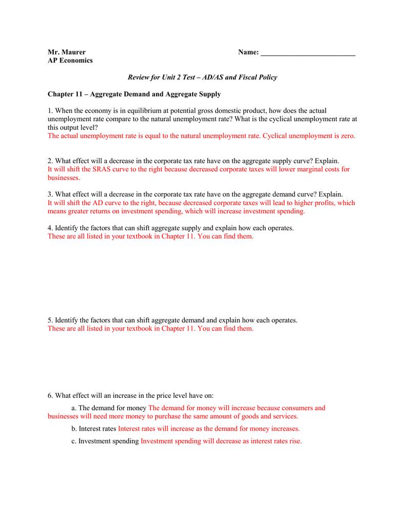 83c6b2898dba1 Mr. Maurer Name  AP Economics Review for Unit 2 Test – AD AS