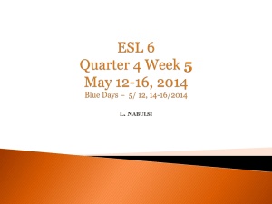 ESL 6 Quarter 4 Week 1 APRIL 14-18, 2014Gold Days * 4/14/16