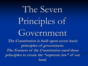 The Seven Principles of Government The Constitution is built upon
