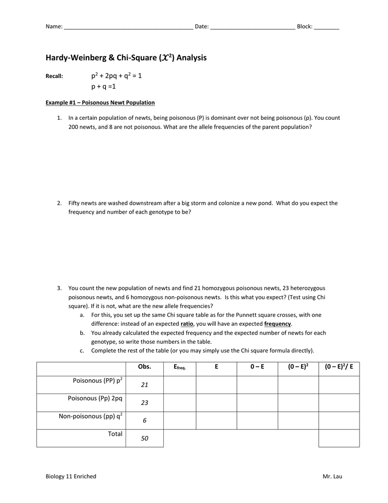 Hardy Weinberg And Chi Square Worksheet
