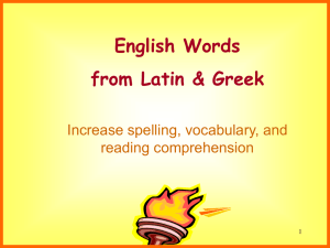 English Words from Latin & Greek