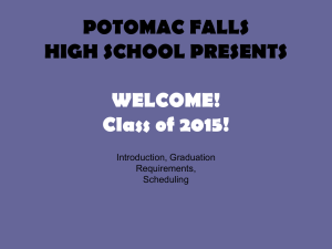 POTOMAC FALLS HIGH SCHOOL PRESENTS WELCOME! Class of