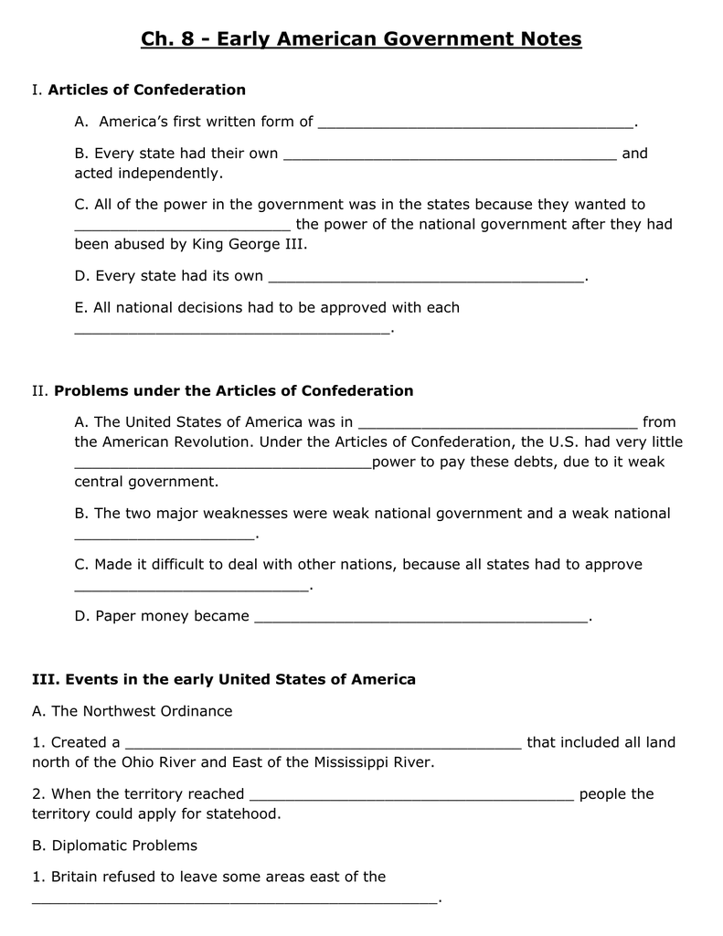 Chapter 8/9 Notes - Fill in the Blank