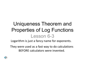 Uniqueness Theorem and Properties of Log Functions
