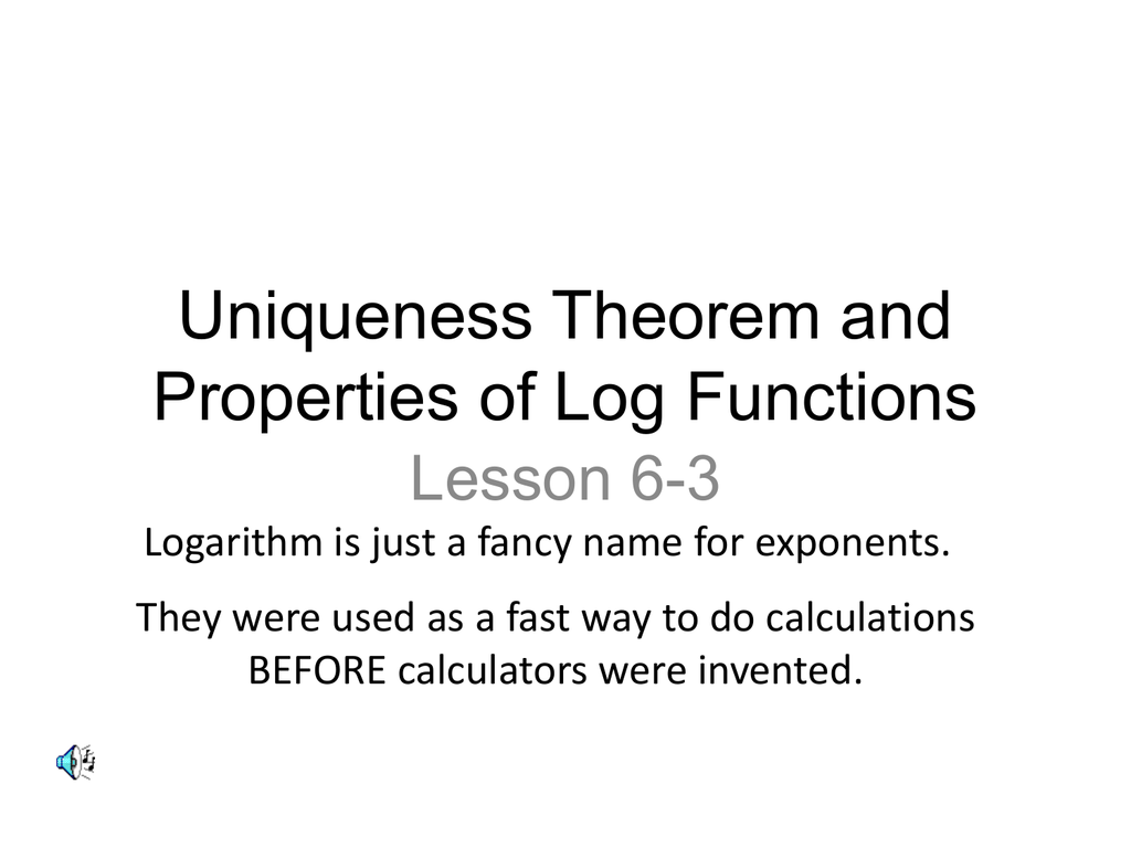 worksheet Log Properties Worksheet uniqueness theorem and properties of log functions