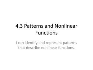 4.3 Patterns and Nonlinear Functions