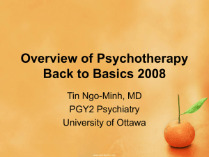 Overview of Psychotherapies - Dr. Tin Ngo