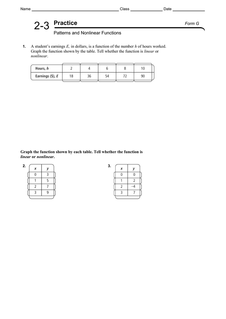 2 3 Patterns And Nonlinear Functions