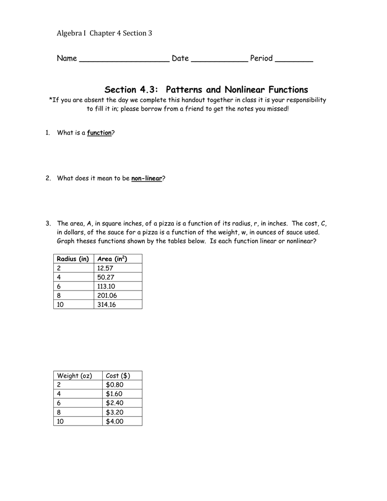 worksheet Linear And Nonlinear Functions Worksheet section 4 3 patterns and nonlinear functions