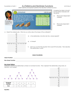 43 Patterns and Nonlinear Functions