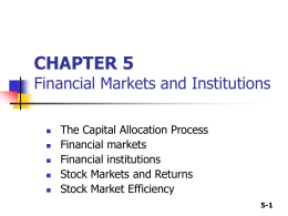 CHAPTER 4 The Financial Environment: Markets, Institutions, and