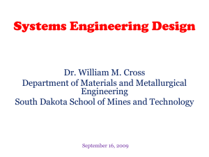 Systems Engineering - Courses - South Dakota School of Mines and