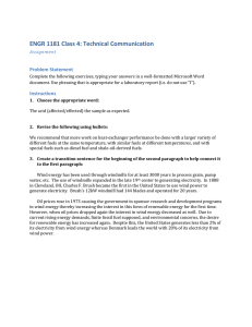 ENGR 1181 Class 4: Technical Communication Assignment