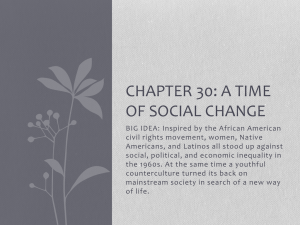 Chapter 30: A time of Social Change