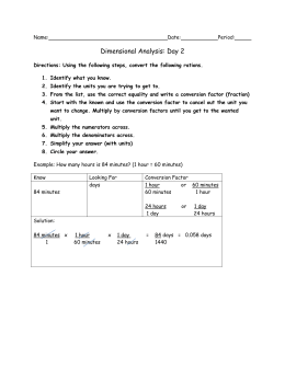 Metric Dimensional Analysis Practice 1
