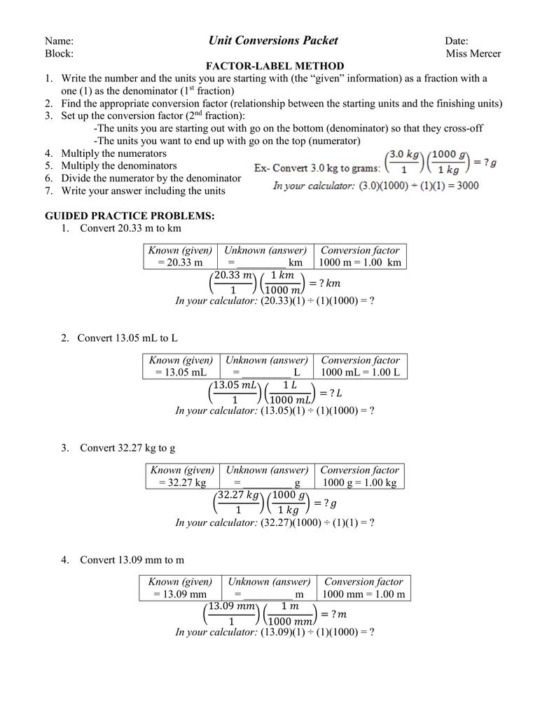 Unit Conversions Packet