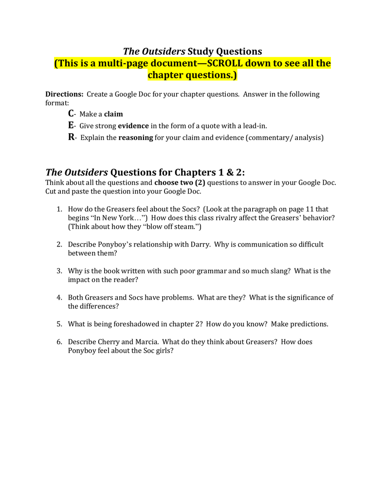 the outsiders discussion questions answer key