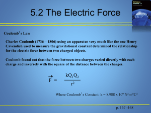 The Electric Force - Edvantage Science