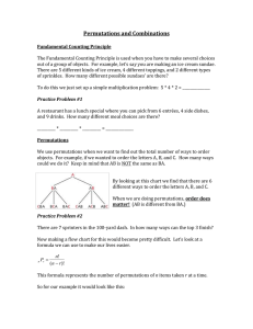 PACKET 1 - Permutations and Combinations