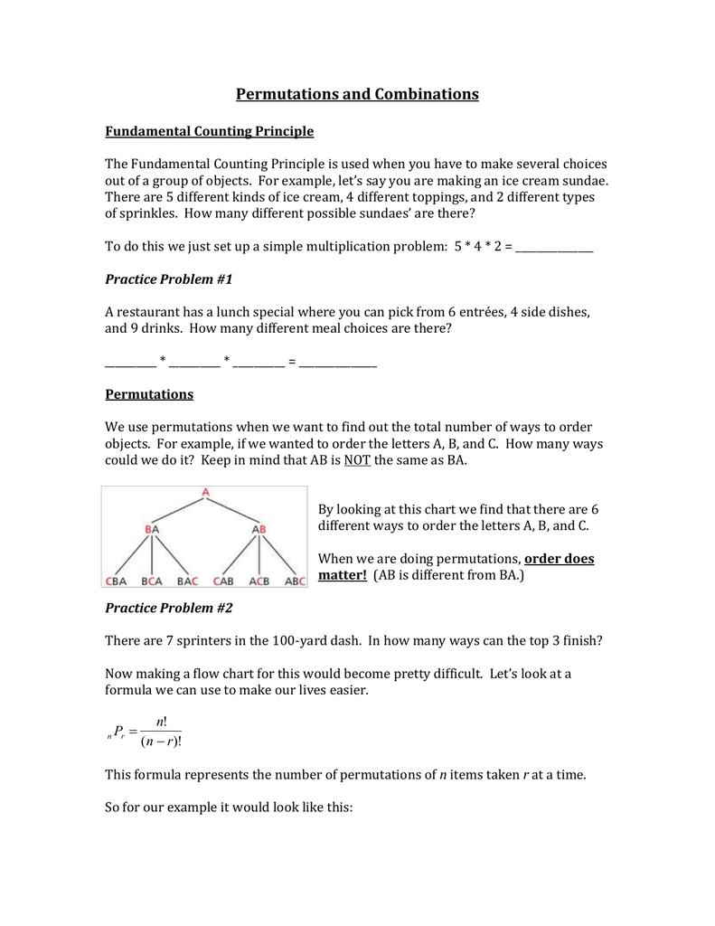 worksheet Permutations Worksheet packet 1 permutations and combinations