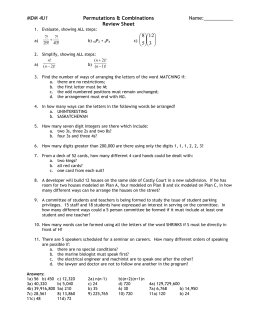 Lesson 7 – Permutations & Combinations Review Sheet