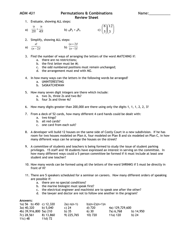Lesson 7 Permutations Combinations Review Sheet