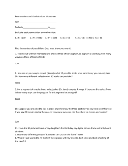 1: Permutations and Combinations Worksheet