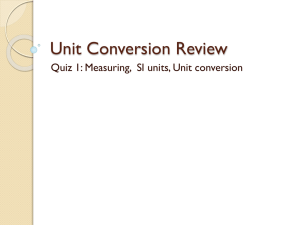 Unit Conversion Review - Belle Vernon Area School District