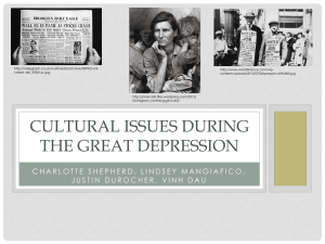 Cultural issues during the great depression
