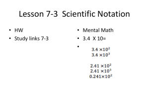 Lesson 7-3 Scientific Notation