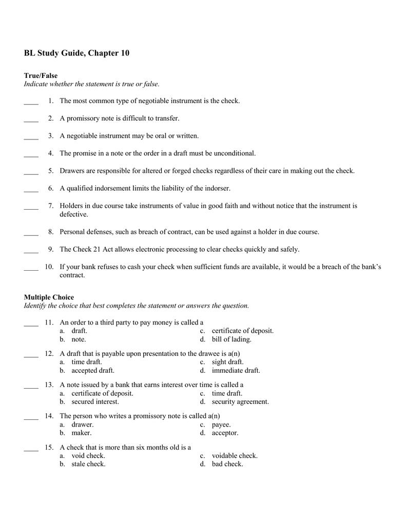 Bl Study Guide Chapter 10 Answer Section