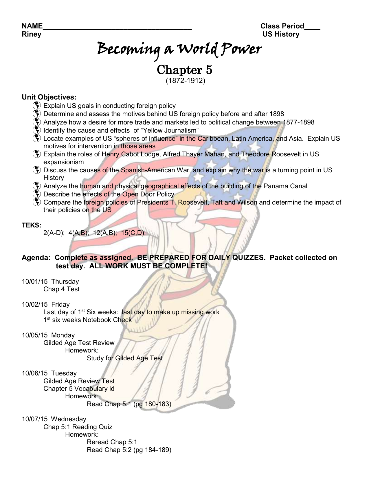 Chap 5 Becoming a World Power Assignment Packet