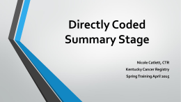 Summary Stage - Kentucky Cancer Registry