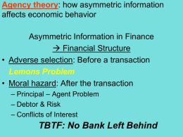 Economics of Financial Structure/Banking