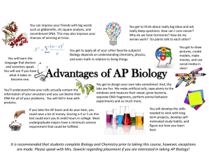 Advantages of AP Biology