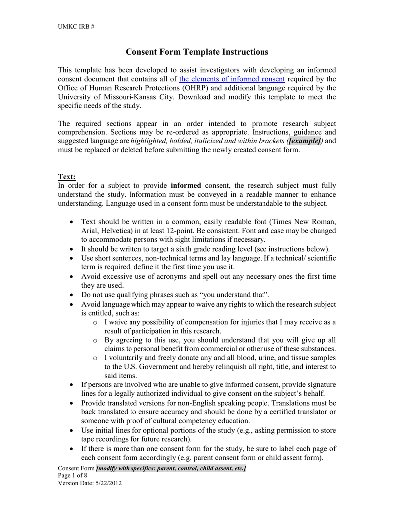 Social Science Consent Form template – Research Consent Form Template