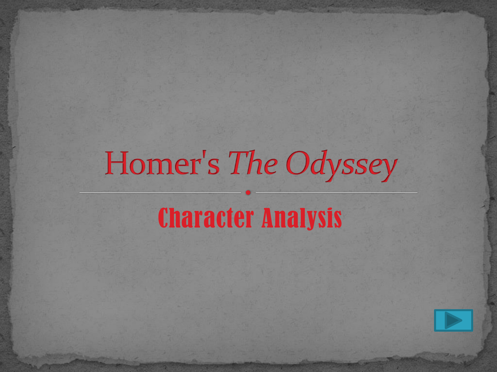 an analysis of the character of odysseus in homers odyssey
